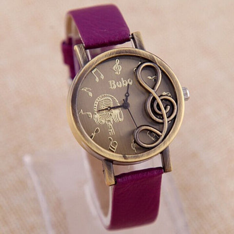 2016 women ladies wrist watches Fashion Style  Musical Note Carving Casual Watch Women Ladies Watch 2016