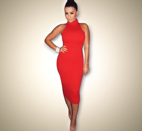 Women Summer Dress Sleeveless Sexy Bandage Dress Red Turtleneck Party Dress Casual Pencil Dresses Vestidos 43