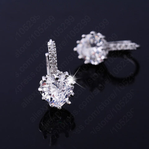 2016 Luxury Colorful Heart Band Real Pure 925 Sterling Silver Jewelry Cubic Zirconia Stone Earrings