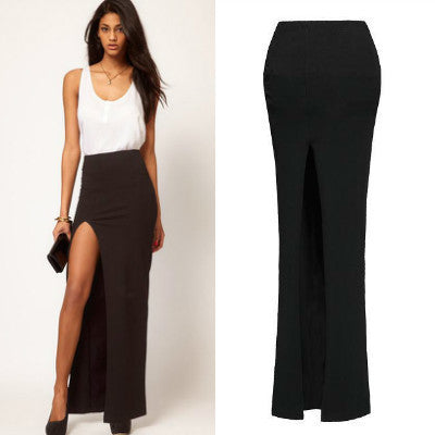 Sexy Floor-length Long Skirts Lady Summer Elastic Open Side Split Black Skirt 46