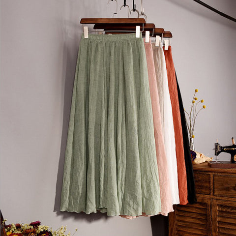 Top quality Cotton and  Linen Long Skirt Elastic Waist A-line Pleated Maxi Beach Vintage Summer Skirts 46