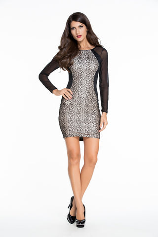 Sexy Nigh Club Style Autumn Dress Sheer Mesh Long Sleeves Insert Lace Splice Bodycon Dress 48