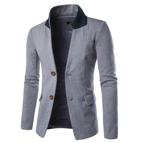 Mens Clothing Coat  faux leather Patchwork Outwear Black Blue plus size slim casual jacket Homme Blazers 49