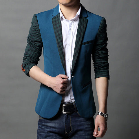 2016 New Brand Men Blazer Casual Knitted Blazers For Men Single Button