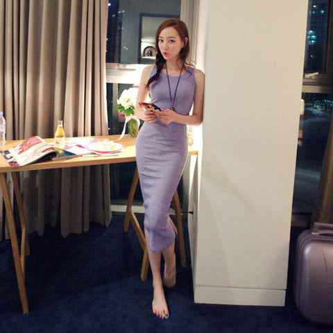 Sleeveless Bottoming Bodycon Dress Women's Long Cotton Vest Dress 46