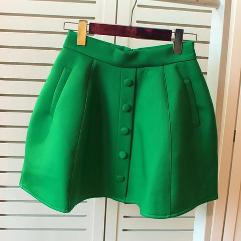 button high waist short skirt Puff skirt bust skirt saia space cotton casual fashion woman 46