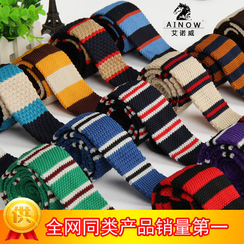 2015 New Brand knitted tie Square Flat Knitted ties Men Striped Slim Skinny 5 cm Casual wholesale fashion neck ties 20 colors