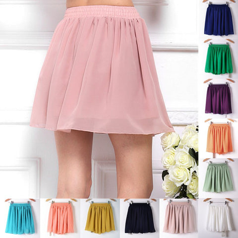 Tulle High Waist Pleated Women Chiffon Skirt Mini Ladies Trendy Cute 46
