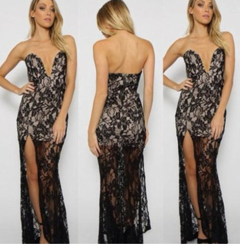 Sexy Floral Crochet Sheer Lace Dress Deep V Strapless Slit Bodycon Maxi Dress Elegant Prom Party Dresses 48