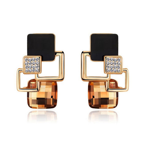 Earrings Jewelry High-end Fashion Temperament Geometry Square Crystal Charm Stud Earrings For Woman Brincos