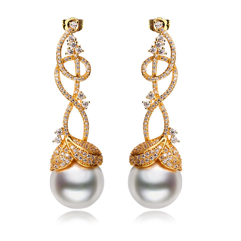 2016 gold plated w/ith white cz & imitation pearl vintage Drop Earrings copper fashion jewelry