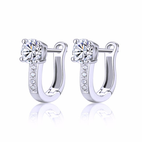 Hot Silver Color Jewelry U Type Earrings For Women Girl Party Wedding 2016