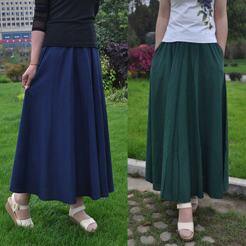 Cotton and Linen Pleated Skirt Ladies Elegant Pastel Fringe Women Maxi Skirt Long Summer 46