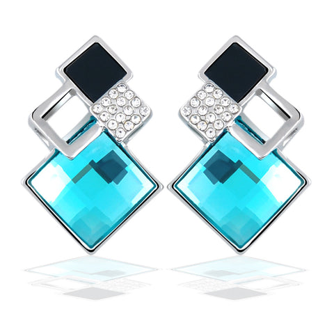 2016 Fashion Fine Jewelry Earrings Geometric Multiple section Square Crystal Gem Stud Earrings For Woman/Girls 2016