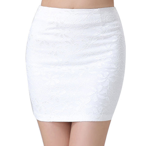 Mini Lace Black White Pencil Skirt Sexy Women Stretch Tight Bodycon Tube 46