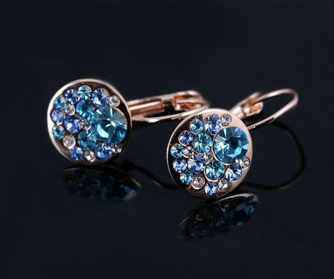 2016 Round Earrings Stud 18K Rose Gold Plated With Austrian Crystals Women Earrings Jewelry