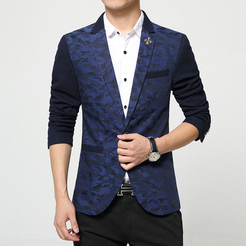 Camouflage print red  blue blazer Male casual jacket single breasted on sale 49