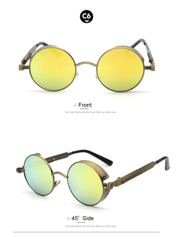 2016 men's sunglasses Sunglasses Coating Mirrored Sunglasses Round Circle Sun glasses Retro Vintage 2016