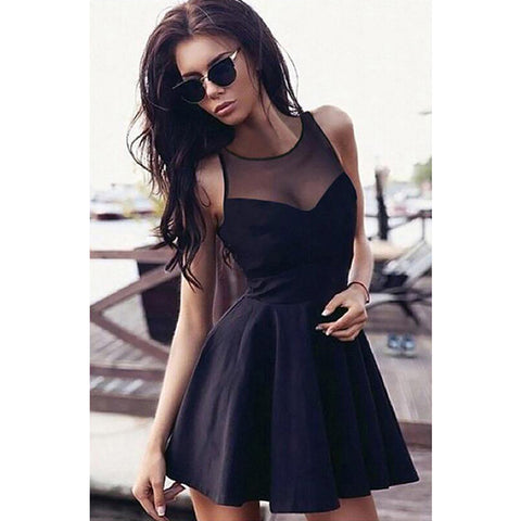 Sexy Slim Lace Sheer Sleeveless Crew neck Dresses High Waist Solid Mini Dress 48