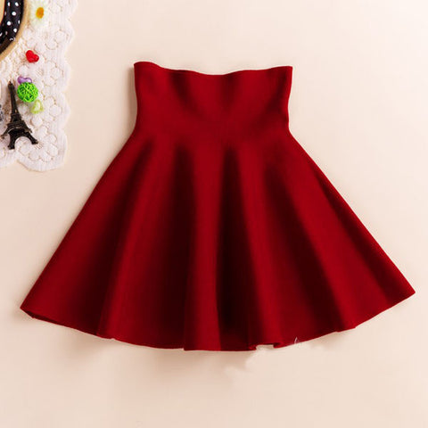 Mini Skirt High Waisted Flared Pleated Jersey Plain Skater Short Knitted Elastic Skirt 46