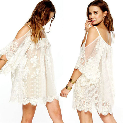 Sexy Strap Sheer Floral Lace Beach Embroidered Crochet Summer Dresses 48