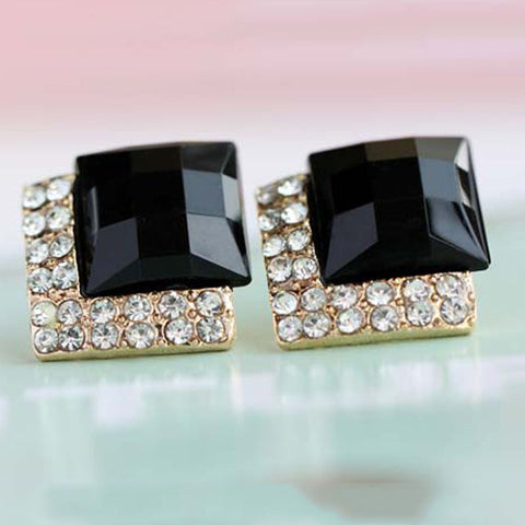 2016 Elegant and Charming Black Rhinestone Full Crystals Square Stud Earrings for Women Girls Statement