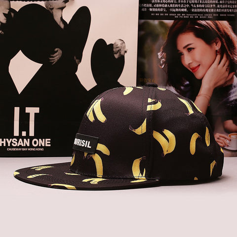 Hats - Banana Print Baseball Snapback Hat - Black