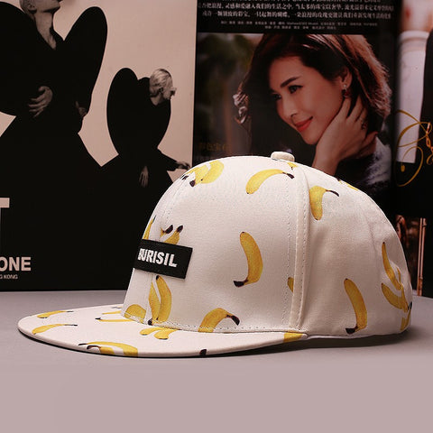 Hats - Banana Print Baseball Snapback Hat - White