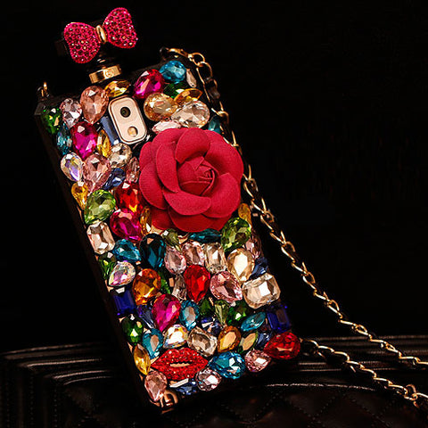 IPhone - Replica Rhinestone Perfume Bottle Case For IPhone & Samsung