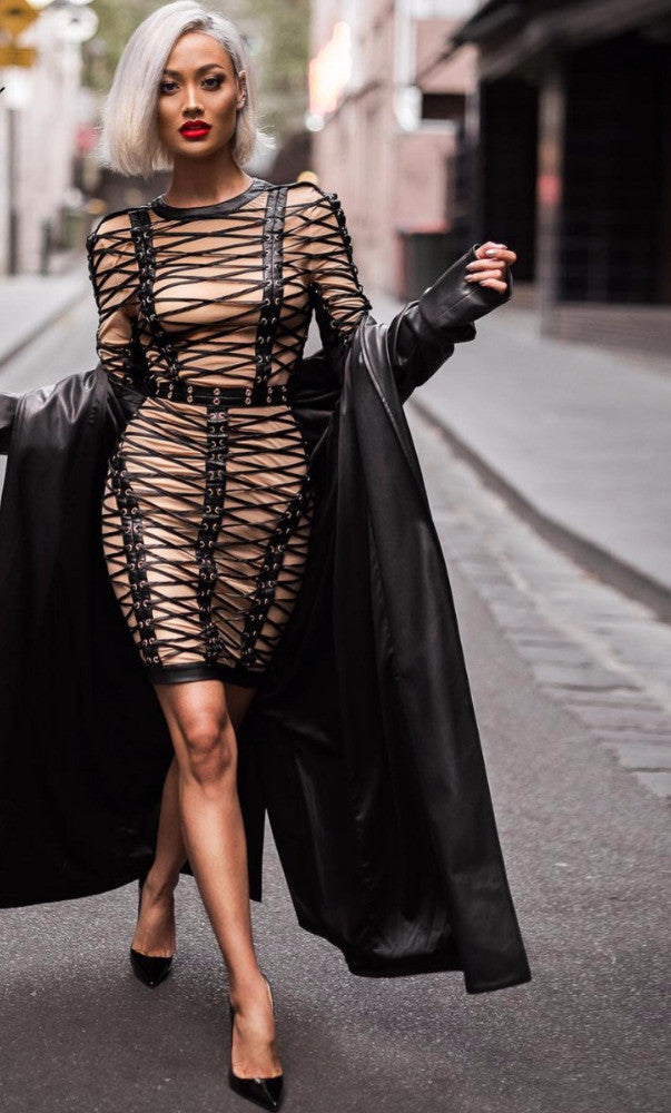 Black and Nude Mesh 'Lace Me Up' Dress