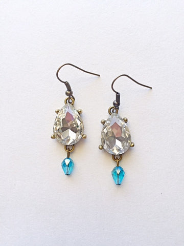 Crystal Teardrop Earrings- Sky Blue - M Renee Design
