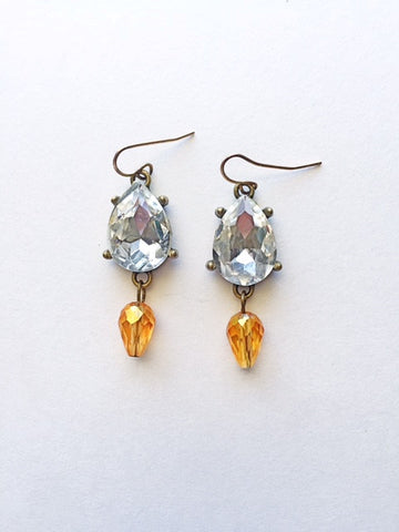 Crystal Teardrop Earrings- Gold - M Renee Design