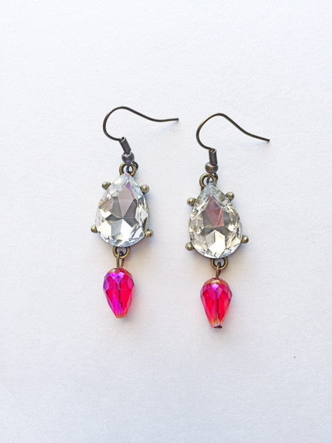 Crystal Teardrop Earrings-Red - M Renee Design