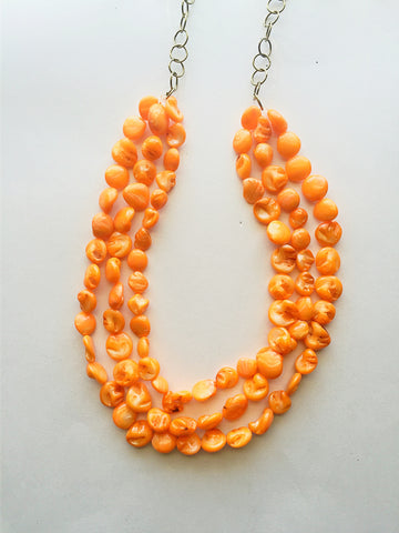 Tangerine Pearl Statement Necklace