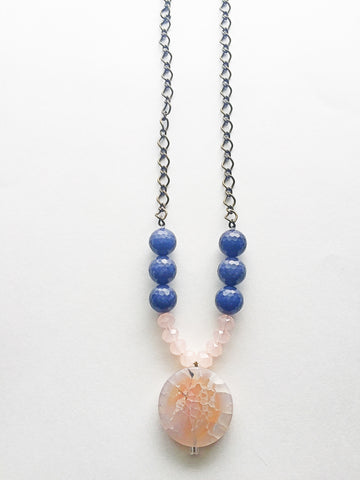 Quartz and Lapis Pendant Necklace - M Renee Design