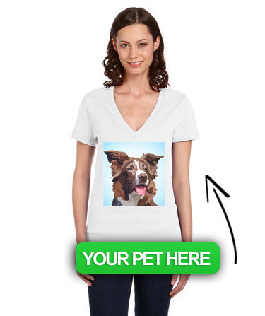 Women's Custom Pet Deep V-Neck T-Shirt