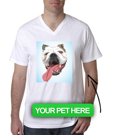Men's Custom Pet V-Neck T-Shirt