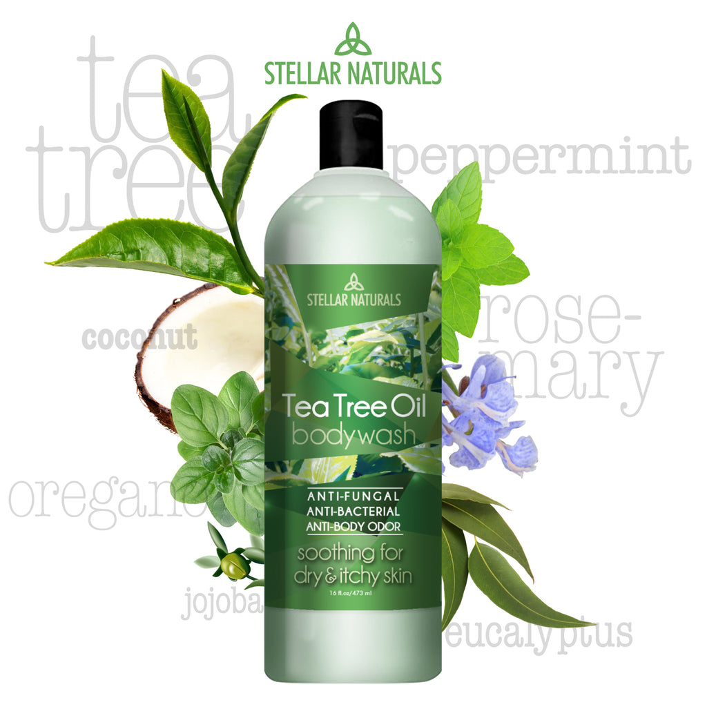 Antifungal Tea Tree Oil Body Wash - Antibacterial and Therapeutic - Tea Tree, Peppermint,