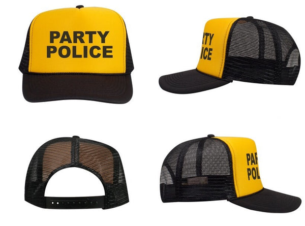 f9ffdc1fcdc Party Police Trucker Hat - Black and Yellow – Day Drink Inc