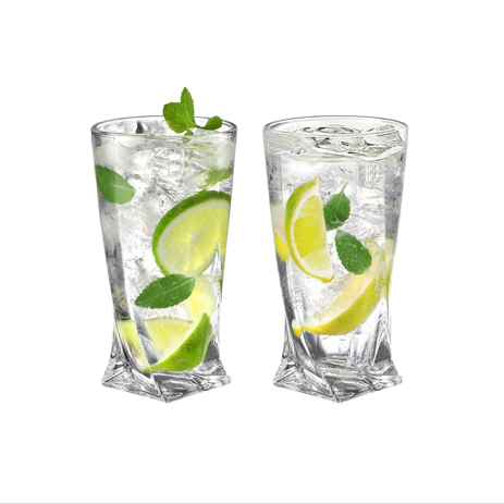 Ecooe 11oz/330ml (Full capacity) Crystal Highball Glasses, Drinking Glassware Set of 2