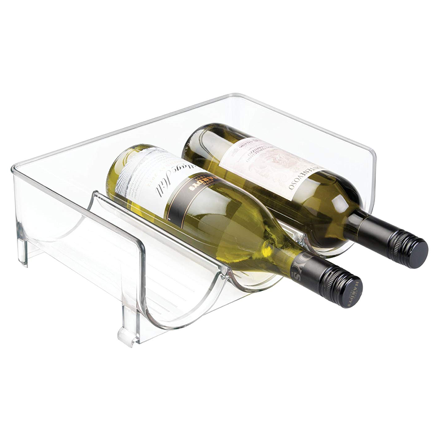 mDesign Stackable Wine Bottle Storage Rack for Kitchen Countertops, Cabinet - Holds 3 Bottles, Clear