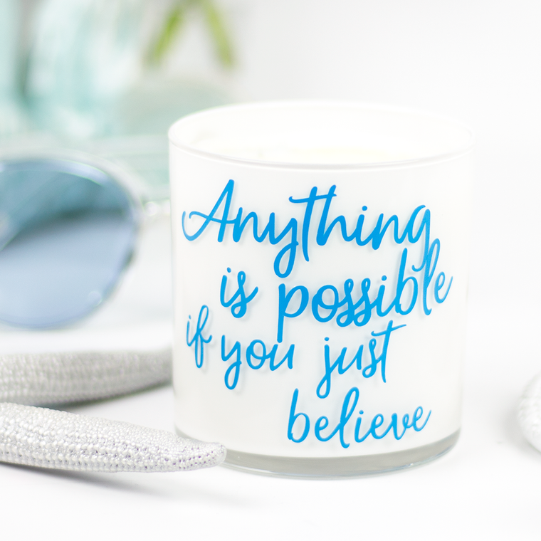 Anything Is Possible Quote Jar in Mermaids Kiss Scent