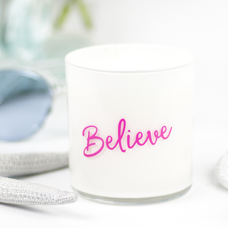 Believe Quote Jar in Clean Cotton Scent