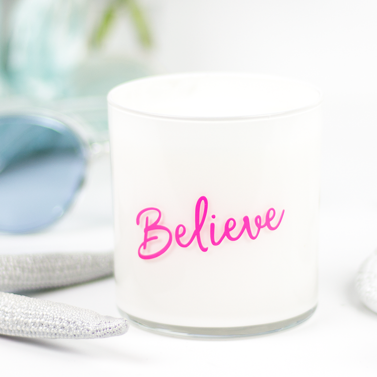 Believe Quote Jar in Mahogany & Coconut Scent