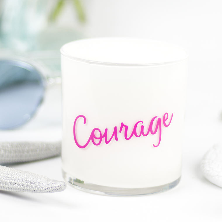 Courage Quote Jar in Mahogany & Coconut Scent