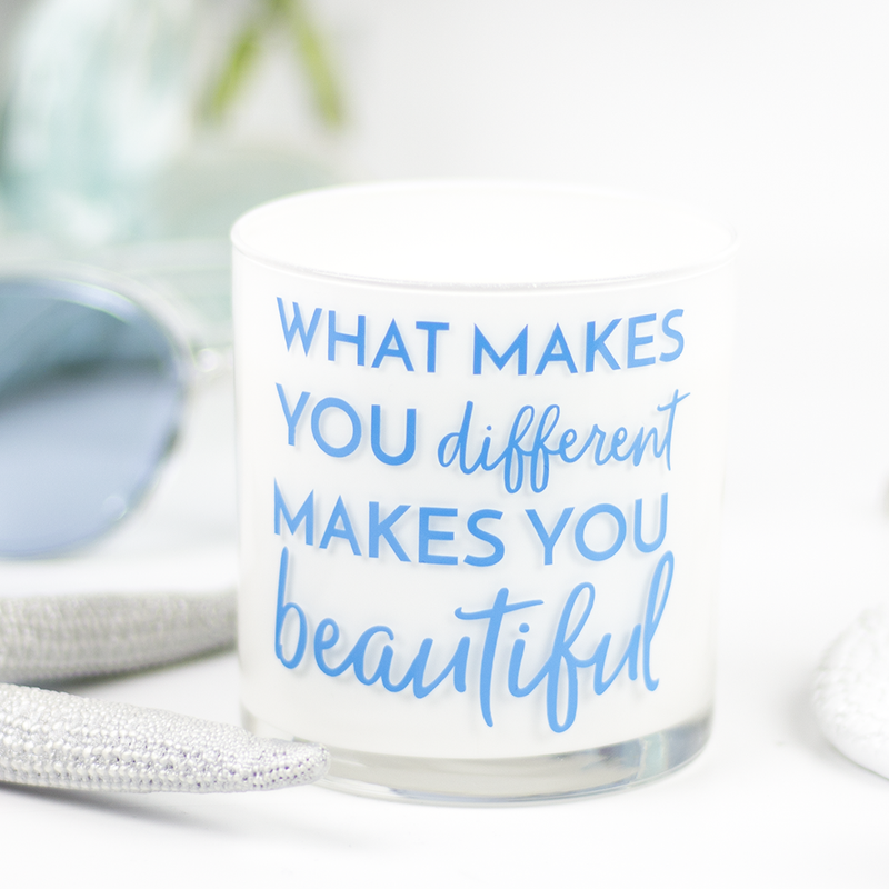 What Makes You Different Quote Jar in Clean Cotton Scent