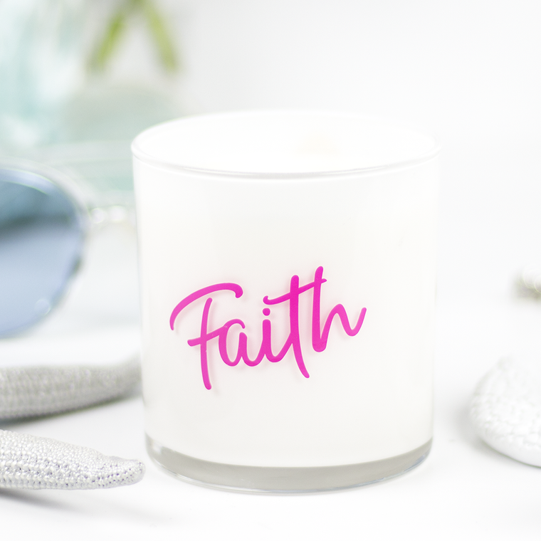Faith Quote Jar in Clean Cotton Scent
