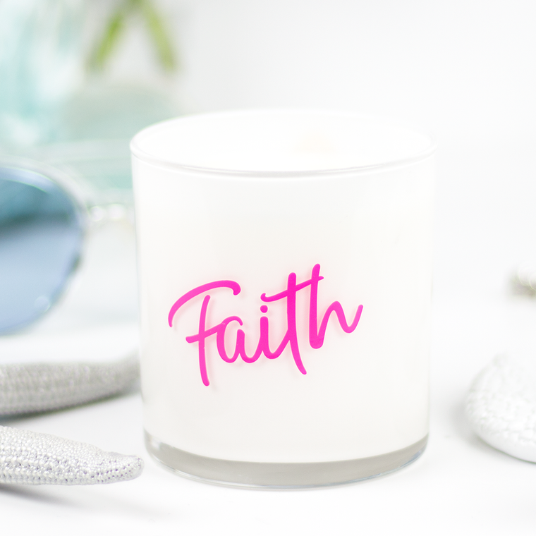 Faith Quote Jar in Birch & Black Pepper Scent