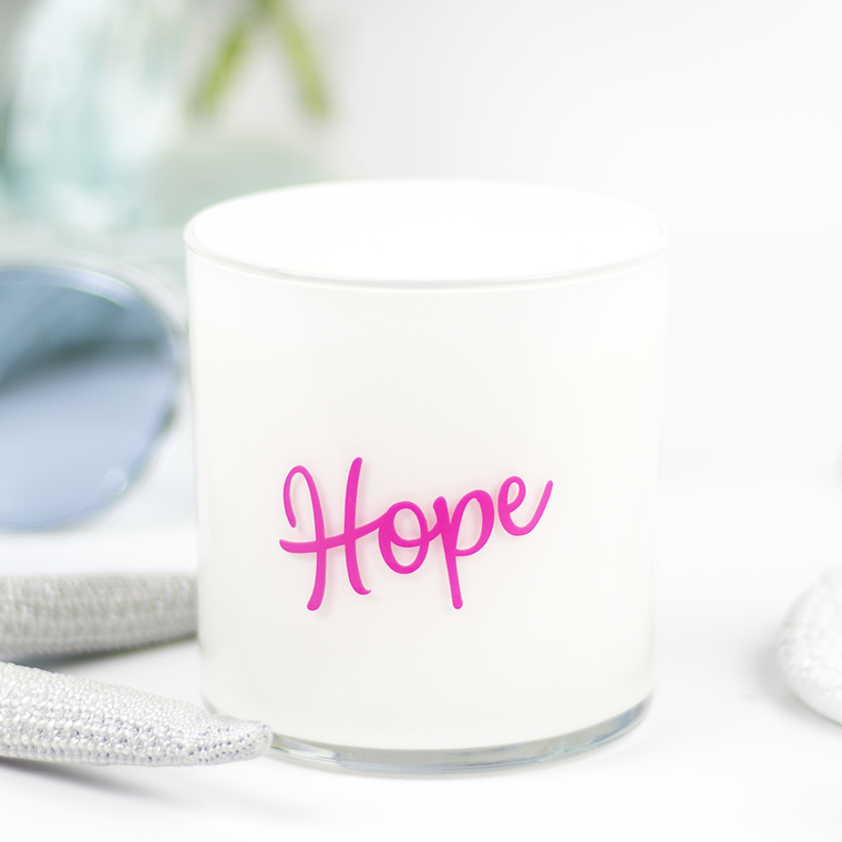 Hope Quote Jar in Clean Cotton Scent