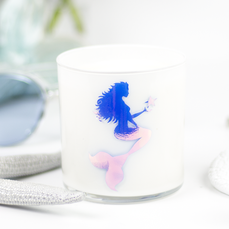 Mermaid Graphic Jar in Cedar & Saffron Scent